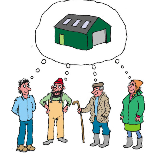 Cartoon of four crofters dreaming about an agricultural shed