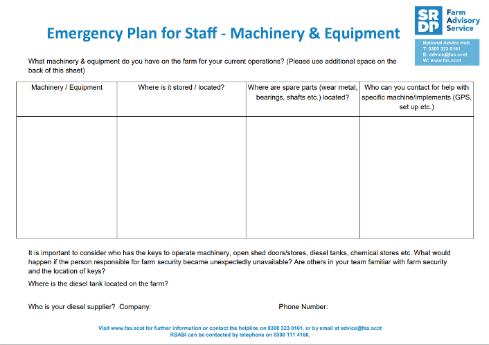 Emergency Plan for Staff - Field Operations - Machinery & Equipment thumbnail