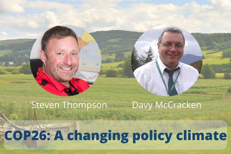 A Scottish landscape with the images of SRUC's Steven Thompson and Davy McCracken superimposed, both enclosed within two round frames.